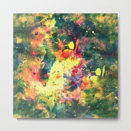 Colorful Watercolor Abstract background. Multicolor grunge psychedelic yellow green texture tie dye Metal Print