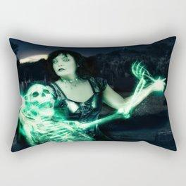 Sorceress casting spells on skeleton. Rectangular Pillow
