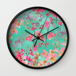 Elegant hand paint watercolor spring floral Wall Clock