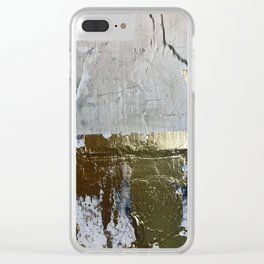 Elegantly Rough: an abstract, minimal piece in gold, pink, black and white by Alyssa Hamilton Art Clear iPhone Case