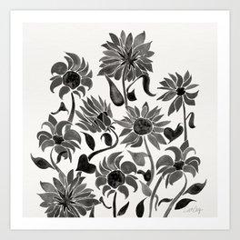 Sunflowers – Black Palette Art Print