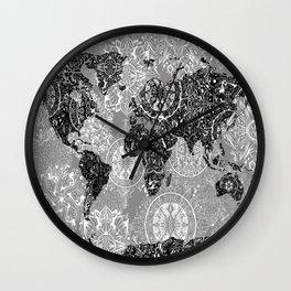 world map mandala black and white 1 Wall Clock