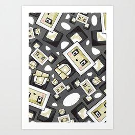 Cute Cartoon Blockimals Panda Pattern Art Print