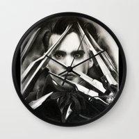 edward scissorhands Wall Clocks featuring Edward Scissorhands by Whitney Wilkinson