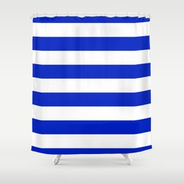 Cobalt Blue and White Wide Cabana Tent Stripe Shower Curtain