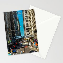 Cartoony Downtown Chicago Stationery Cards