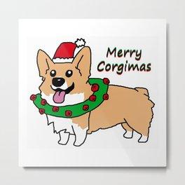 Merry Corgimas Metal Print