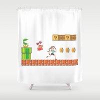 tomb raider Shower Curtains featuring Lara Bros by Marina Portela