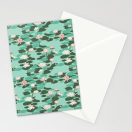 Waterlily pattern in Mint Stationery Cards
