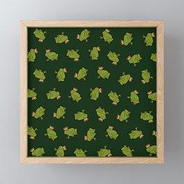 Frog Prince Pattern Framed Mini Art Print