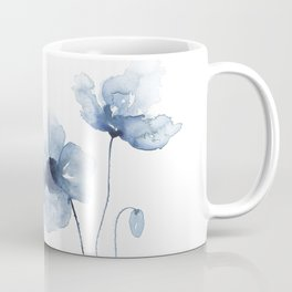 Blue Watercolor Poppies Coffee Mug
