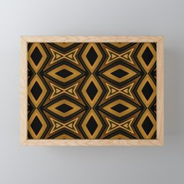 Tribal Diamonds Pattern Brown Colors Abstract Design Framed Mini Art Print