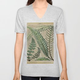 Book Art Page Botanical Leaves Unisex V-Neck
