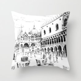 Sketch of San Marco Square in Venice Throw Pillow