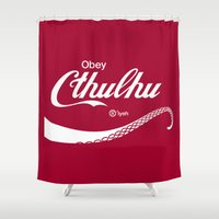 obey Shower Curtains featuring Obey Cthulhu by cepheart