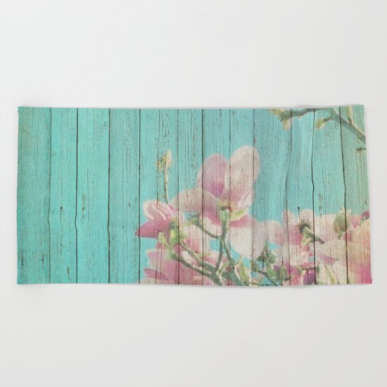 Sweet Flowers on Wood 08 Beach Towel