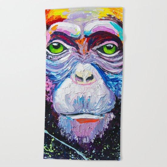 I'm chimpanzee! Beach Towel