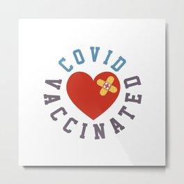 Vaccinated band-aid Heart  Metal Print