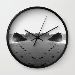 Oregon Coast Beach Footprints Wall Clock