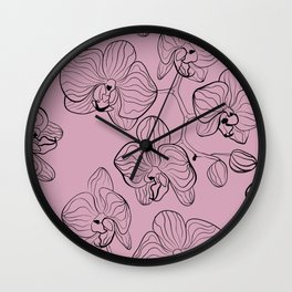 Retro . Orchid flowers on a pink background . Wall Clock