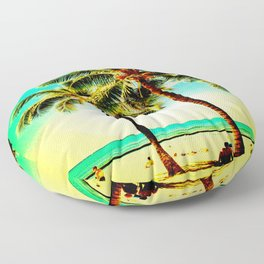 Normal Green Yellow Vintage Palm Tree with Hawaii Summer Sea Beach Floor Pillow