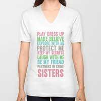 sisters V-neck T-shirts featuring sisters by studiomarshallarts