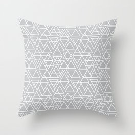 Gray and White Geometric Triangle Pattern Throw Pillow