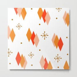 Mid Century Modern Diamonds Orange Metal Print