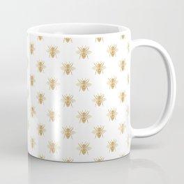 Gold Metallic Faux Foil Photo-Effect Bees on White Coffee Mug