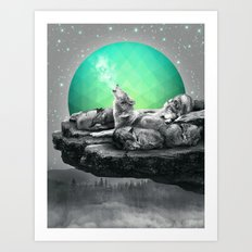 Echoes of a Lullaby / Geometric Moon Art Print