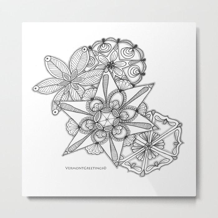 Vermont Zentangle Snow Flakes Illustration Metal Print