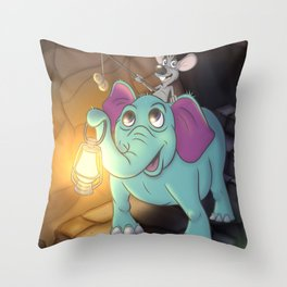 The Elephants Hungry Adventure Throw Pillow