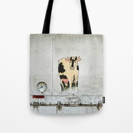 Old Milk House Cow Art Tote Bag