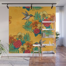Hummingbirds and tropical bouquet in yellow Wall Mural