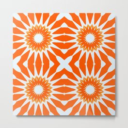 Orange Pinwheel Flowers Metal Print