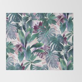 Tropical Emerald Jungle in light cool tones Throw Blanket