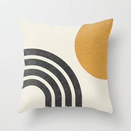 Mid century modern Sun & Rainbow Throw Pillow