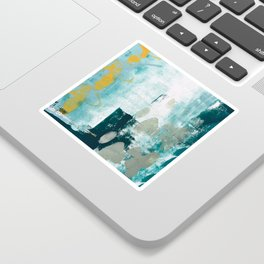 023.2: a vibrant abstract design in teal green and yellow by Alyssa Hamilton Art  Sticker