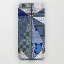Blue & Gray Scrapbook Collage Quilted Heart (Tile #3) iPhone Case