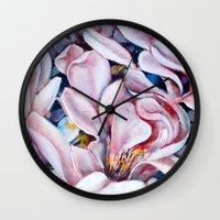 magnolia Wall Clocks featuring magnolia by Eva Lesko