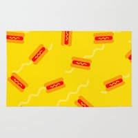 hot dog Area & Throw Rugs featuring HOT DOG by SUPAKID