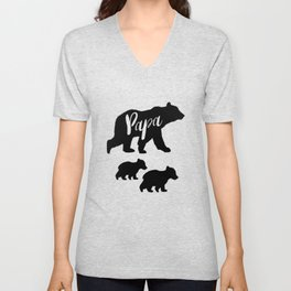Papa Bear T Shirt with Two Cubs Unisex V-Neck