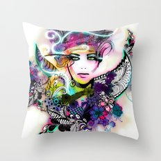 colorful floral illustration Throw Pillow