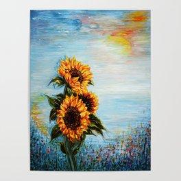 Sunflowers! Where Ocean meets Sky Poster