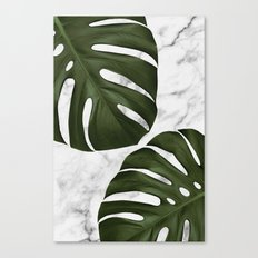 Marble Monstera Canvas Print