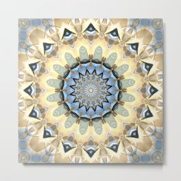 Gold And Blue Geometric Abstract Metal Print