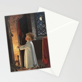 Christmas card depicting a fireplace stockings and a child from The Miriam and Ira D Wallach Divisio Stationery Cards