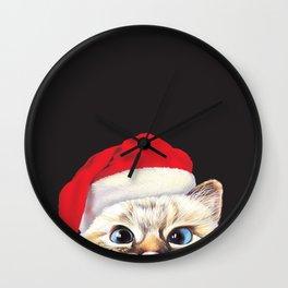 Peeking Santa Cat Wall Clock