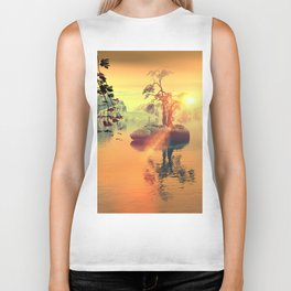 Awesome golden sunset  Biker Tank