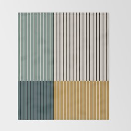 Color Block Line Abstract VIII Throw Blanket